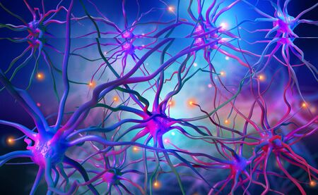 Neural networks of the human brain. 3d illustration of abstract nerve centers. Electrical impulses in brain. Bright full color