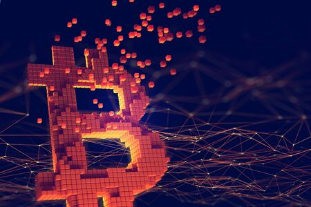 3D illustration of the topic of Blockchain. Bitcoin symbol consisting of separate flaming blocks is located on the background of a polygonal network Futuristic concept of mining cryptocurrency Archivio Fotografico