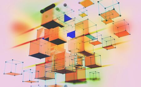 Abstract geometric composition. Volumetric cubes on a light background. Data blocks moved in cyberspace. 3D illustration with motion effect.