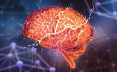 Human brain. Electrical activity. Creating artificial intelligence. 3D illustration on a futuristic background