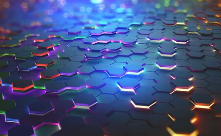 A field of hexagons in a futuristic 3D illustration. Bright color and neon light of the heated edges of the hexagons. Shallow depth of field with bokeh effect Archivio Fotografico