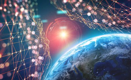 Planet Earth in the era of digital technology. Global communication networks of future. Data storage system. Archivio Fotografico