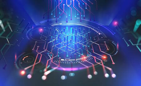 Computer technology of the future. Microchip quantum processor. Modern 3D illustration of fantastic cyberspace with HUD elements
