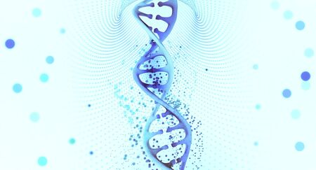 DNA helix. Hi Tech technology in the field of genetic engineering. 3D illustration of a DNA molecule with a nanotech network