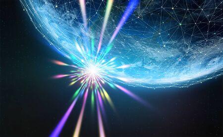 Era of digital technology. Dawn of a new civilization. Supernova star. 3D illustration of a planet in the rays of light. Standard-Bild