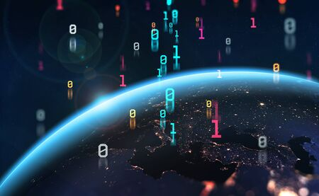 Era of digital technology. Binary code and Global data flow. 3D illustration of a planet is surrounded by an information field. Standard-Bild
