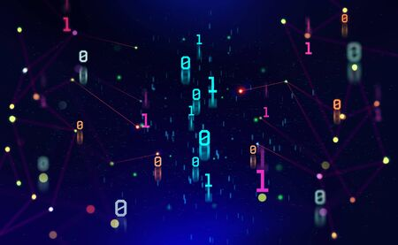 Binary code. Units and zeros in the global cyberspace network. 3D illustration on digital technology