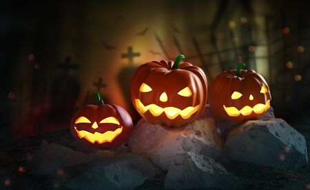 Halloween. Pumpkin ghost 3D illustration. Jack Pumpkinhead, all saints night. Glowing pumpkins on background of mystical graves