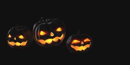 Halloween 3D illustration. Pumpkin ghost. Jack Pumpkinhead. Jack-O-Lantern. Burning eyes on background of night forest