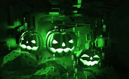 Halloween party in cyberpunk style. Pumpkin head in cyberspace 3d illustration