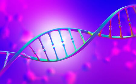 Science and cosmetology 3D illustration. Genome research and future medicine. Bright colorful poster design in purple-neon colors