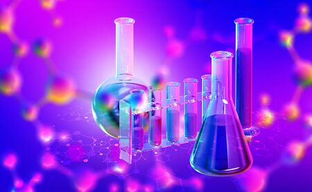 Molecular structure. 3D illustration of flasks and test tubes. Chemical laboratory and innovations in medicine Banque d'images