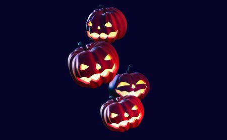 Halloween 3D illustration. Pumpkin ghost. Jack Pumpkinhead. Jack-O-Lantern. Burning eyes on black background  Banque d'images