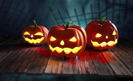 Halloween. Pumpkin ghost 3D illustration. Jack Pumpkinhead, Jack-O-Lantern. Burning eyes on a mysterious night background