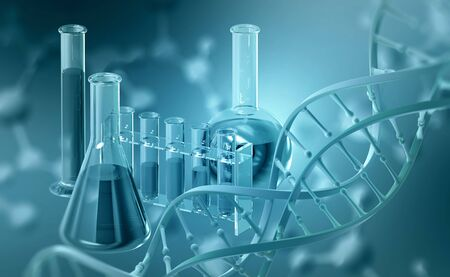 Laboratory, scientific research. Chemistry, test tubes and flasks. DNA 3D illustration on blue background