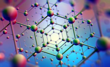Nanotechnology in modern science. Future technologies in study of structure of nanomaterials. 3D illustration of atomic grid on a high-tech background Banque d'images