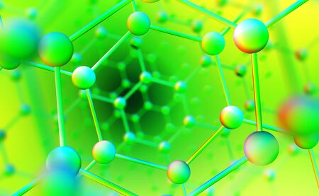 Molecular mesh. Spatial structure 3D illustration. Nanotechnology in medicine and molecular physics. Innovation in scientific community