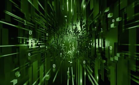 Digital data base 3D illustration. Abstract concept of a future computer. Innovation in world of high technology. Programming and coding in global cyber network