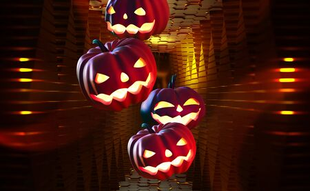 Cyber halloween. Pumpkin ghost 3D illustration. Jack Pumpkinhead, all saints night on nanotechnology background