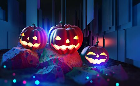 Halloween. Jack Pumpkinhead, all saints night. Party in cyberpunk style. Pumpkin head in neon and fluorescent light. 3d illustration