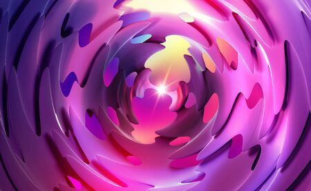 Virtuality. Abstract tech background 3d illustration. Star in a space tunnel of rotating blades. Temporary portal