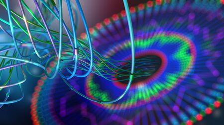 Big data. Computer wires on neural network with a shallow depth of field. 3D illustration of global artificial intelligence database. Optical fiber and virtual reality Banque d'images