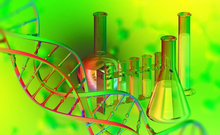 Laboratory, scientific research. Chemistry, test tubes and flasks. DNA 3D illustration on acid background