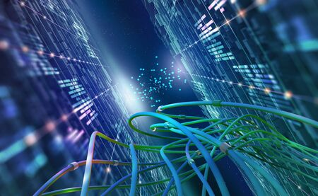 Abstract concept of quantum computer. Virtual database in cyberspace global network. 3D illustration of urban nano technology in future society