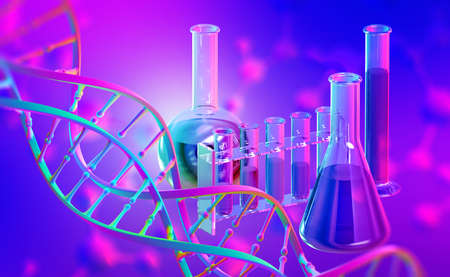 Laboratory, scientific research. Chemistry, test tubes and flasks. DNA 3D illustration on a purple-neon background