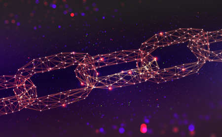 Blockchain Chain of information blocks in cyberspace. 3D illustration of a global computer network of the future. Data protection on the decentralized internet