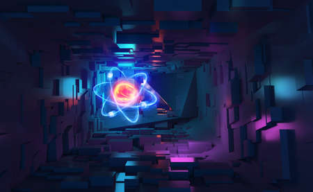 Atom 3d illustration. Neon light and ultraviolet. Inside spacecraft. Fantastic tunnel and cyberspace. Hadron Collider and Future Technologies