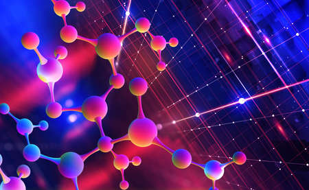 Neon molecular mesh design. Digital nanostructure. Purple ultraviolet. 3D illustration of an abstract colorful molecule