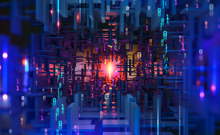 Abstract purple, neon background. Digital technology. Concept of high tech internet network. 3D illustration of processor of future in orbital cyber tunnels