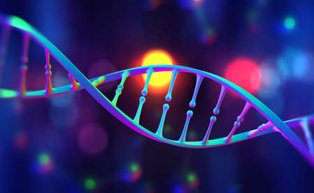 DNA helix. Hi Tech technology in the field of genetic engineering. Scientific breakthrough in human genetics 3D illustration 免版税图像
