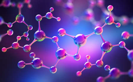 Medical studies of molecular structures. Science in the service of man. Technologies of the future in our life. 3D illustration of a molecule model in neon light