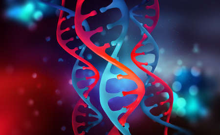 DNA helix. Human genome research. Genetic modification. Biotechnology of future in 3D illustration