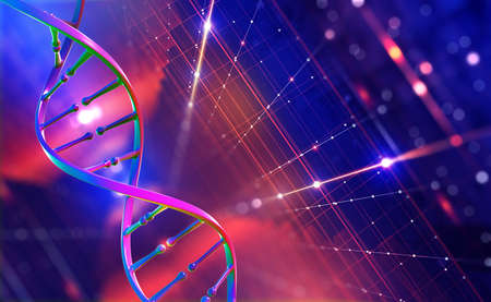 DNA helix. Hi Tech technology in field of genetic engineering. Digital nanostructure. 3D illustration on a futuristic background Imagens
