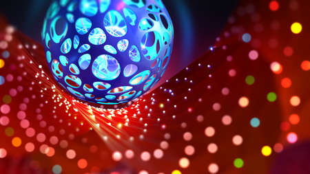 Neural network and artificial intelligence. Bright holiday and high technology. 3D illustration of a cyber ball on a bokeh background