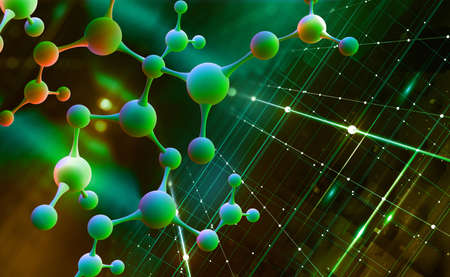 Abstract molecule model. Digital nanostructure. Scientific research in molecular chemistry. 3D illustration on a pearl green background Imagens - 151190736