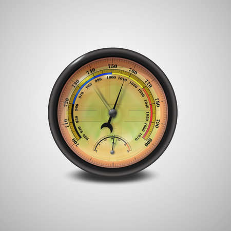Barometer icon, vector isolated on white background. Rain and stormy, fair and very dry, change. Gold Barometer indicating atmospheric pressure change. Vettoriali