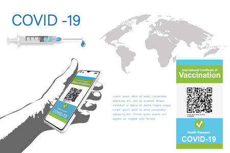 A vaccinated person using a digital health passport app in a mobile phone to travel during the COVID-19 pandemic. Mobile vector app interface. Ui template