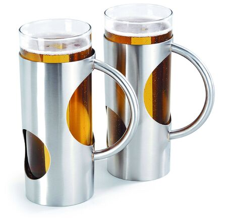Stylish steel jars with cold bear in them Stock Photo