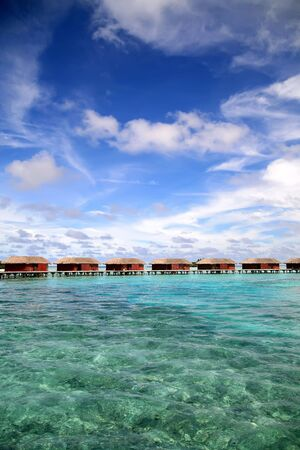 Bungalows right in the ocean on Maldives Islands