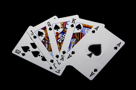 Straight flush on the poker table Stock Photo - 3745097