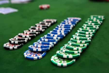 Poker table with chips Stock Photo - 3757085