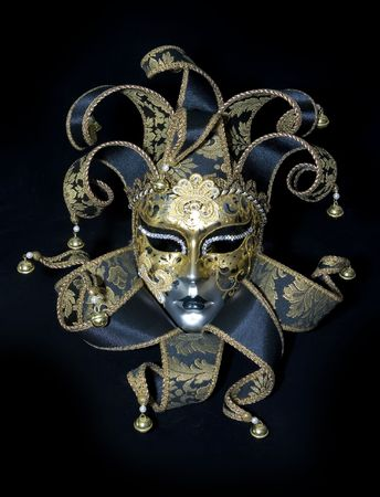 drama mask: Venetian mask on black background