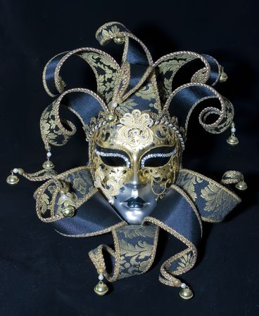 mardi gras mask: Venetian mask on black background