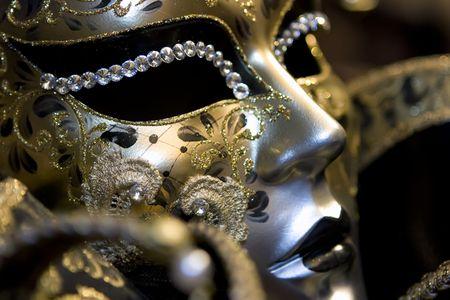 drama masks: Venetian mask on black background