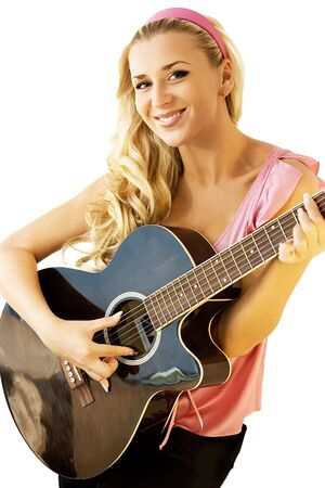 Blond female guitarist cutout on white background Stock Photo