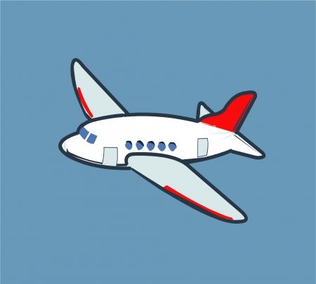 avion caricatura: Caricatura avi�n volando en el cielo Vectores